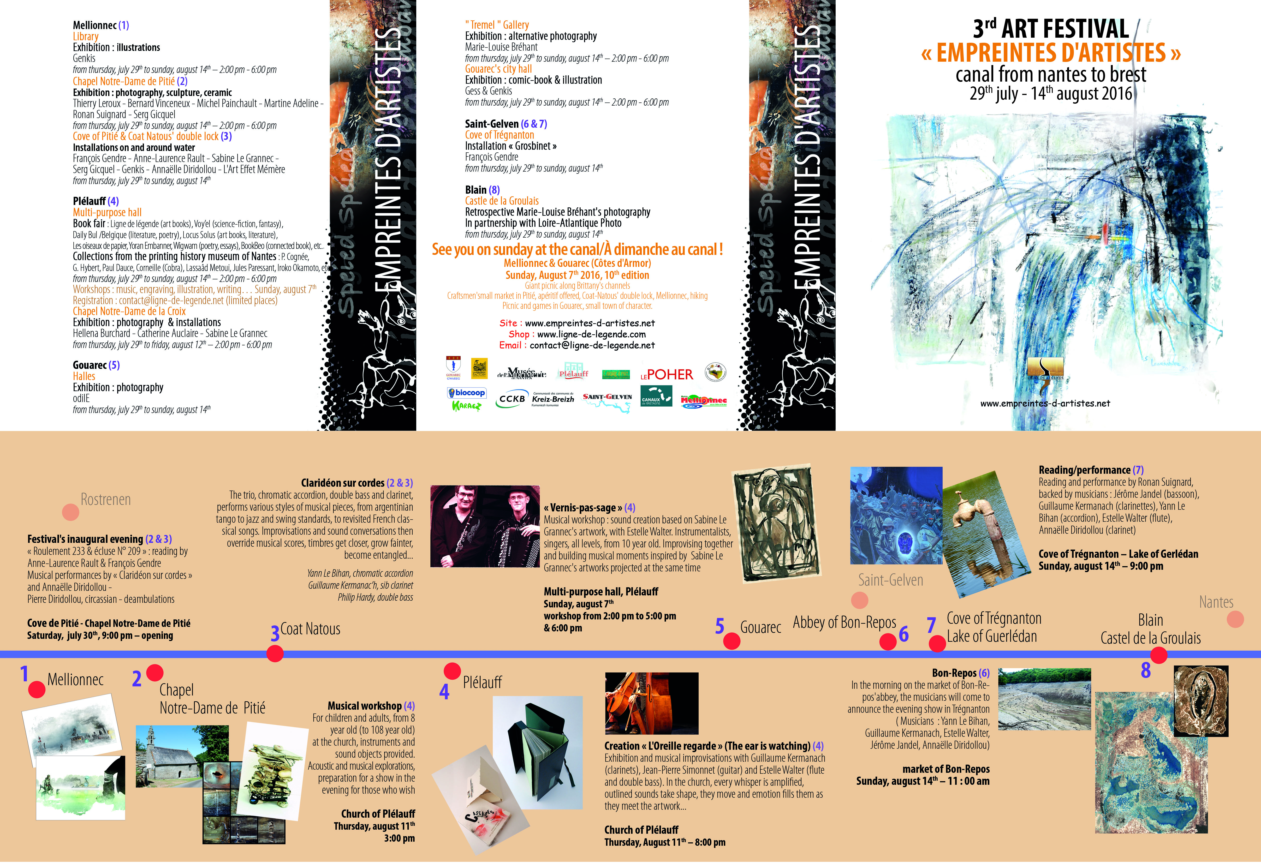 This is the programme for the Art Festival Empreintes d'artistes 2016 in English